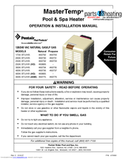 Pentair Pool Products 200K BTU/HR Operation & Installation Manual