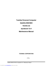 Toshiba Satellite M45 Maintenance Manual