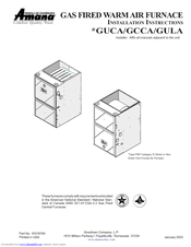 Amana GUCA Installation Instructions Manual