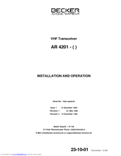 BECKER AR 4201 INSTALLATION AND OPERATION MANUAL Pdf Download
