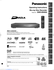 Panasonic DIGA DMR-BW850 Operating Instructions Manual