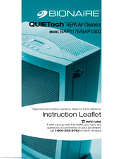BIONAIRE QUIETECH BAP1175 INSTRUCTION LEAFLET Pdf Download