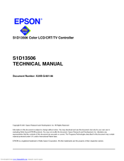 Epson S1D13506 Technical Manual