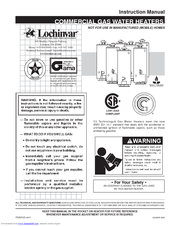 Lochinvar COMMERCIAL GAS WATER HEATERS Manuals