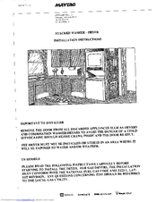 Maytag LDE7804 Installation Instructions Manual
