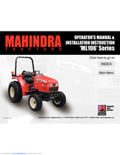 MAHINDRA ML106 SERIES OPERATOR'S MANUAL & INSTALLATION