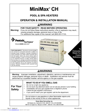 Pentair Pool Products MiniMax CH Operation & Installation Manual
