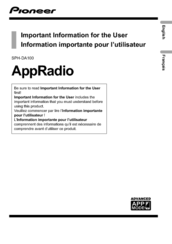 Pioneer AppRadio SPH-DA100 User Information