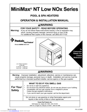 Pentair Pool Products MiniMax NT Low NOx Series Operation & Installation Manual