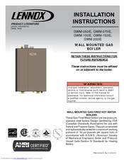 lennox gwm ie. lennox gwm-100ie installation instructions manual gwm ie i