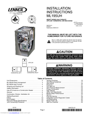 LENNOX ML195UH INSTALLATION INSTRUCTIONS MANUAL Pdf Download