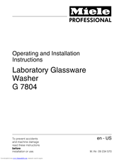 Miele G 7804 Operating And Installation Instructions
