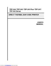 TSC TDP-244 SERIES USER MANUAL Pdf Download