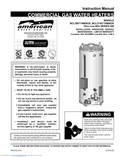 american water heater a bcl3100t2756nox manuals rh manualslib com american standard tankless water heater manual american water heater installation manual