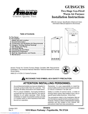 Amana GUIS Installation Instructions Manual