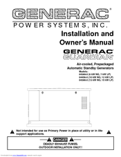 GENERAC POWER SYSTEMS 04389-0 INSTALLATION AND OWNER'S