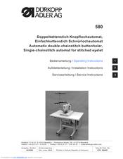DURKOPP ADLER 580 - Operating Instructions Manual