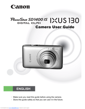 Canon Digital Elph PowerShot SD 1400 IS IXUS 130 User Manual
