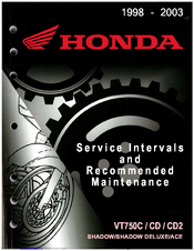 Honda VT750CD ACE Service Interval And Recommended Maintenance Manual