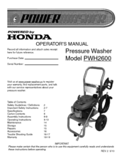 PowerWasher PWH2600 Operator's Manual
