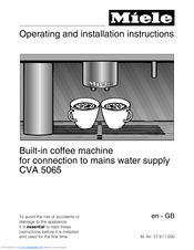Manuals And User Guides For Miele Cva 5060 We Have 6 Available Free Pdf Manual Operating Installation