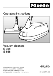 MIELE S 758 OPERATING INSTRUCTIONS MANUAL Pdf Download.