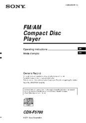 sony cdx f5700 fm am compact disc player manuals