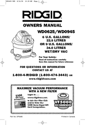 RIDGID WD0625 Owner's Manual