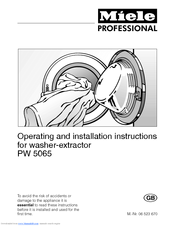 Miele PW 5065 Operating And Installation Instructions