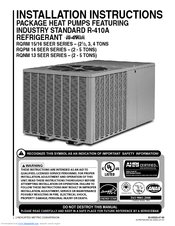 RHEEM RQPM 15/16 SEER SERIES INSTALLATION INSTRUCTIONS