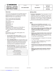 Honda 2005 INSIGHT Installation Instructions Manual