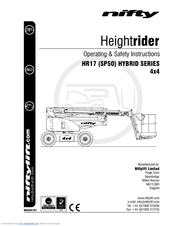 NIFTY HEIGHTRIDER HR17 SP50 HYBRID SERIES 4X4 OPERATING