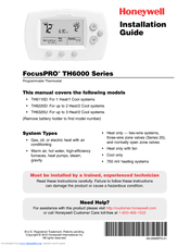 honeywell focuspro th6220d manuals rh manualslib com honeywell 6000 thermostat wiring diagram Honeywell Aquastat Wiring-Diagram
