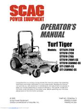SCAG POWER EQUIPMENT TURF TIGER STT52V-27CH OPERATOR'S MANUAL Pdf