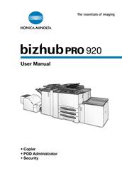 KONICA MINOLTA BIZHUB PRO 920 USER MANUAL Pdf Download