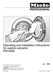 Miele PW 6055 Operating And Installation Instructions