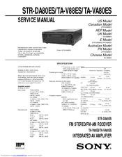 Sony STR-DA80ES - Fm Stereo / Fm-am Receiver Service Manual
