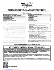 Whirlpool WAHME Installation Instructions Manual
