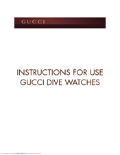 gucci dive watches manuals rh manualslib com I-Gucci Diamond Watch I-Gucci Diamond Watch