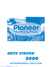 Pioneer Brite Striper 2000 Instruction Manual & Parts List