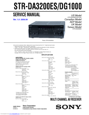 Sony STR-DG1000 - 7 1 Channel Surround Sound A/v Receiver Manuals