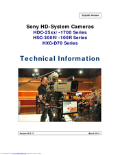 Sony HXC-D70 Series Technical Information