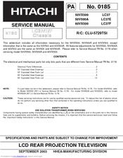 hitachi 60vx500 director s series 60 rear projection tv manuals rh manualslib com Hitachi Manuals Television Hitachi 51UWX20B Owner's Manual