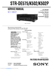sony str k502p fm stereo fm am receiver manuals rh manualslib com Sony Receivers 8854870 sony receiver instruction manual