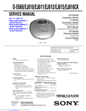 Sony D-EJ616CK - Portable Cd Player Service Manual