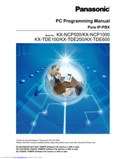 Panasonic KX-NCP500 Programming Manual
