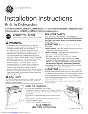 GE Built-In Dishwasher Installation Instructions Manual