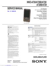 SONY WALKMAN NWZ-A726 SERVICE MANUAL Pdf Download.
