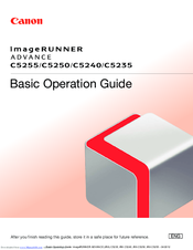Canon imageRUNNER ADVANCE C5255 Basic Operation Manual