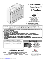 Travis Industries GreenSmart 2 Fireplace 564 SS GSR2 Manuals